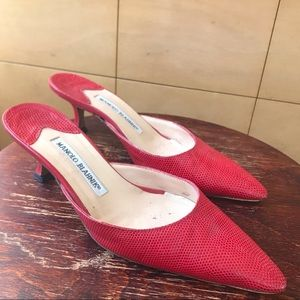 Red Leather Manolo Blahnik Heeled Mules